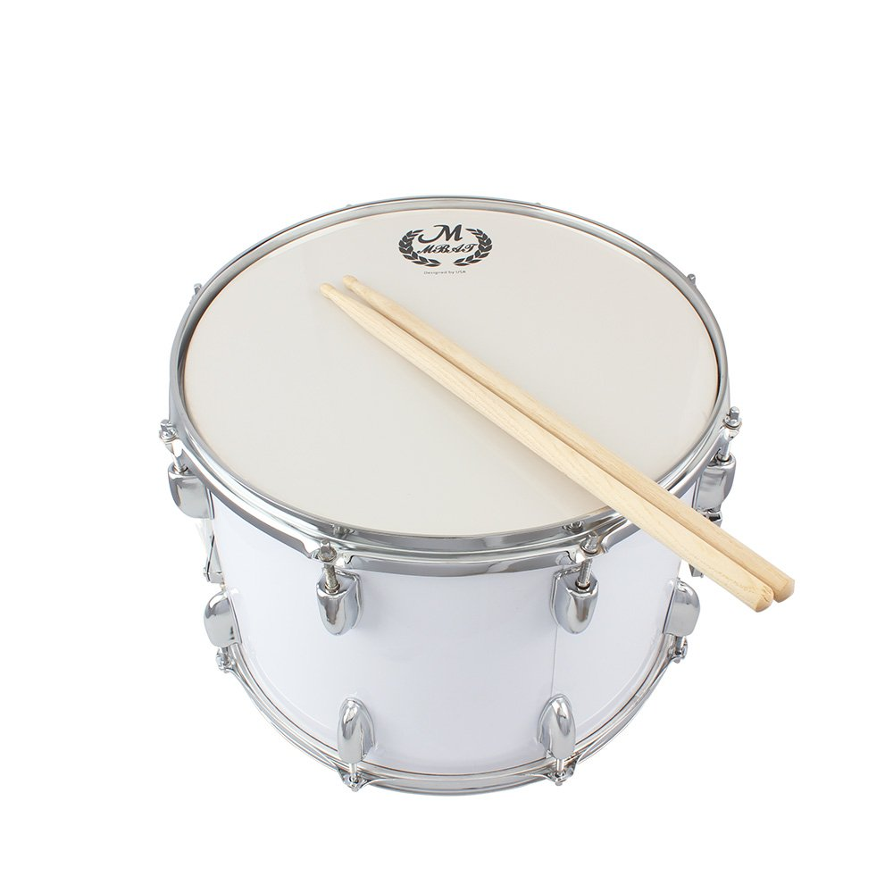 14in Marching Drum Stainless Steel & Maple Wood Body PVC Drumhead with Sticks Shoulder Strap Key for Student Professional Drummer by Godyluck