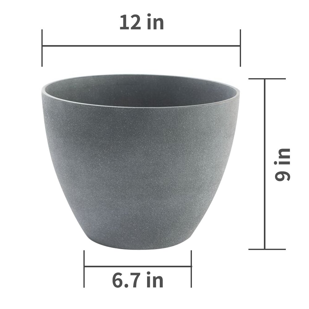 Flower Pot Garden Planters 12'' Pack 2 Outdoor Indoor, Unbreakable Resin Plant Containers with Drain Hole, Grey for Fathers day gifts by LA JOLIE MUSE