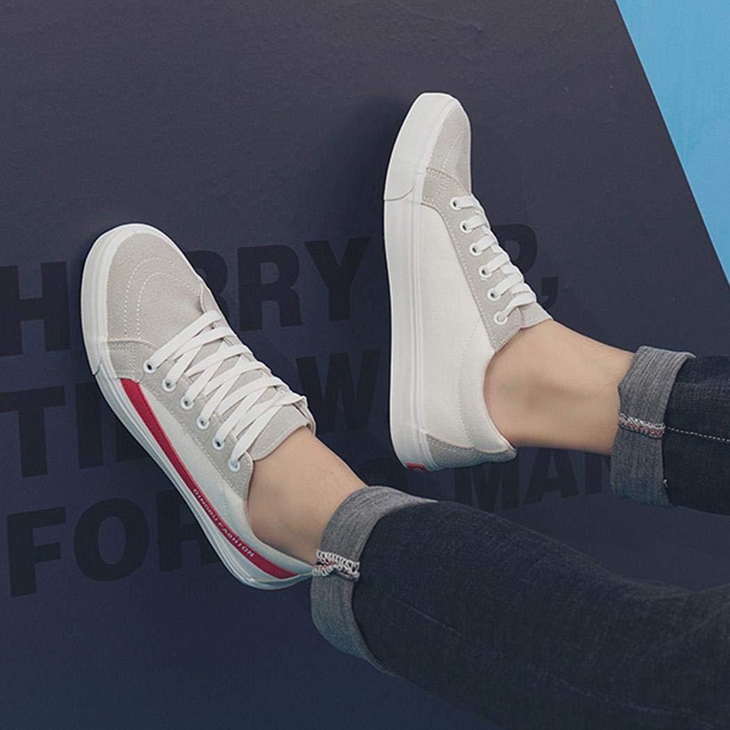 Happeks Mens Fashion Patchwork Lace-up Comfortable Flat Canvas Shoes Fashion Sneakers
