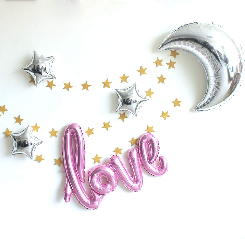 """42 Inch /""""Love/"""" and 36 Inch Moon Large Size Foil Balloons Air-Filled//Helium Balloon for Party Show Performance Wedding Baby Shower Window Dressing Birthday Anniversary Decoration Champagne Gold Set FiLL$Joy"""