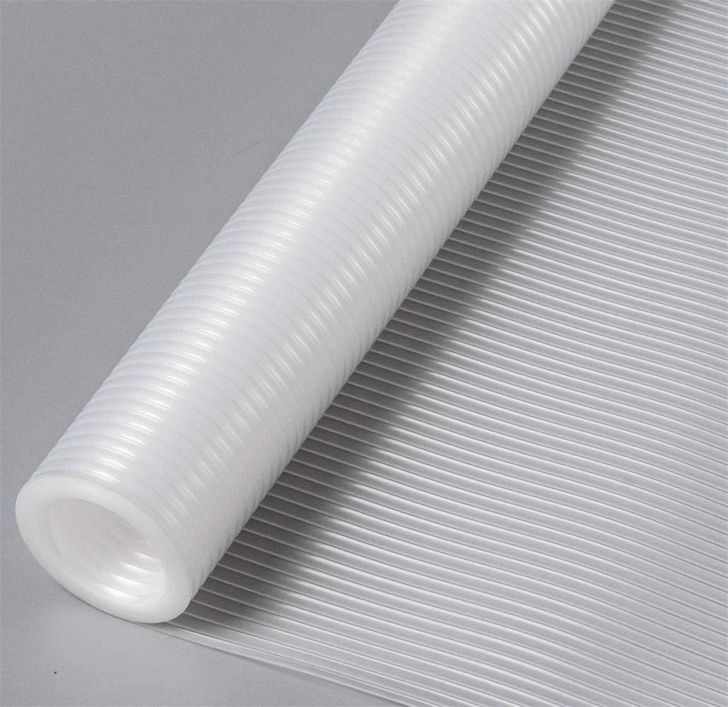 Bloss Plast-O-Mat Ribbed Shelf Liner, EVA Shelf Liners for Kitchen Cabinet Drawer Non-Adhesive Waterproof Non-Slip Refrigerator Liners for Wire Shelves Washable Pad Mat, 17.7 x 59 inches – White