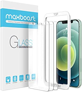 Maxboost Screen Protector Compatible with iPhone 12 Mini Screen Protector - 3 Pack, Tempered Glass Film for Apple iPhone 12 mini 5.4-inch (2020) (w/Alignment Tool included)