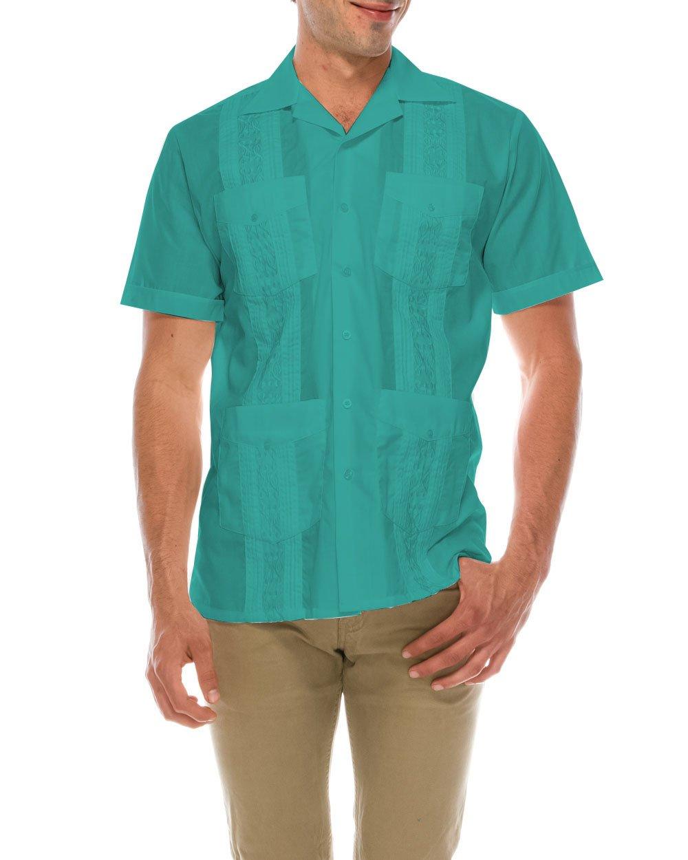 TrueM Men's Short Sleeve Cuban Guayabera Shirts (4XL, Turq)