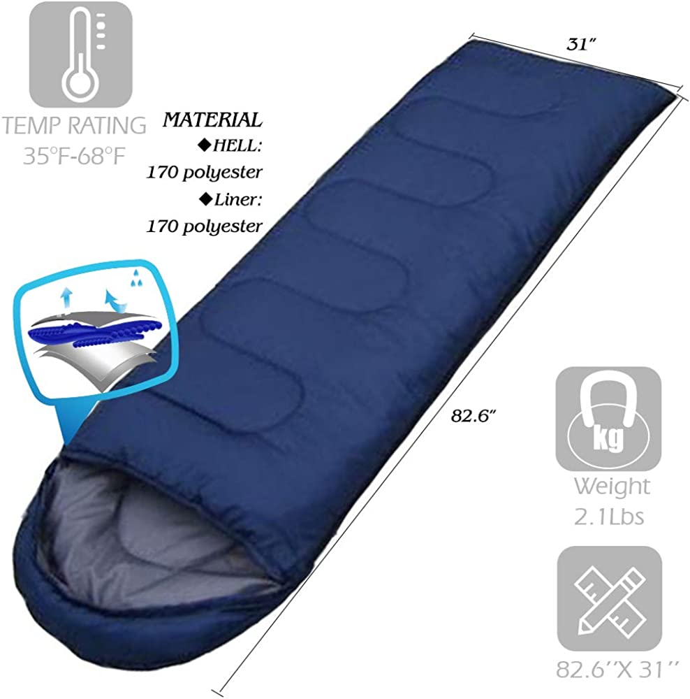 Sleeping Bags for Adults Teens Kids, Envelope Portable and Lightweight for 2-3Season Camping, Hiking, Traveling, Backpacking and Outdoor Activities