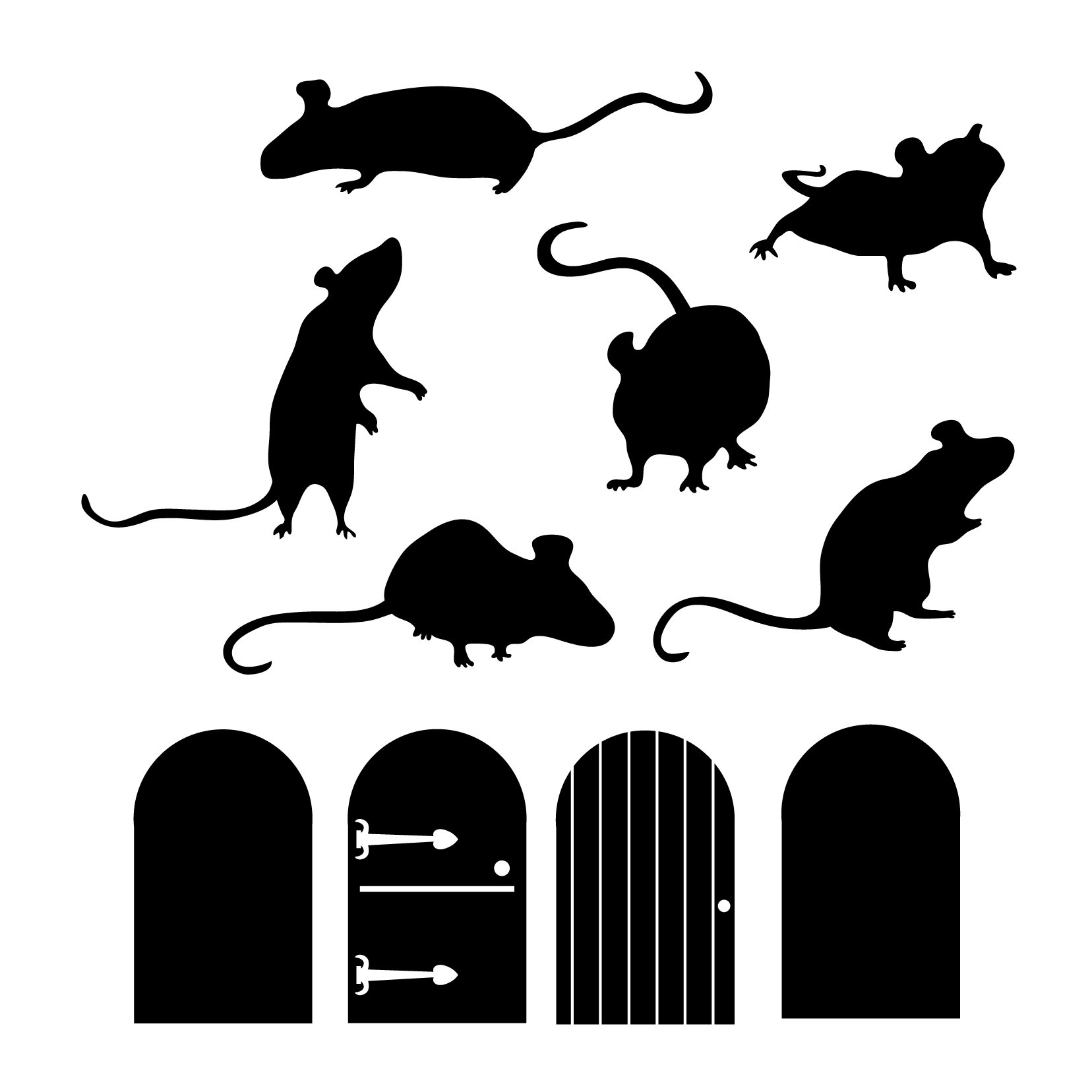 Mice and Doors - Vinyl Wall Art Decal for Homes, Offices, Kids Rooms, Nurseries, Schools, High Schools, Colleges, Universities, Interior Designers, Architects, Remodelers