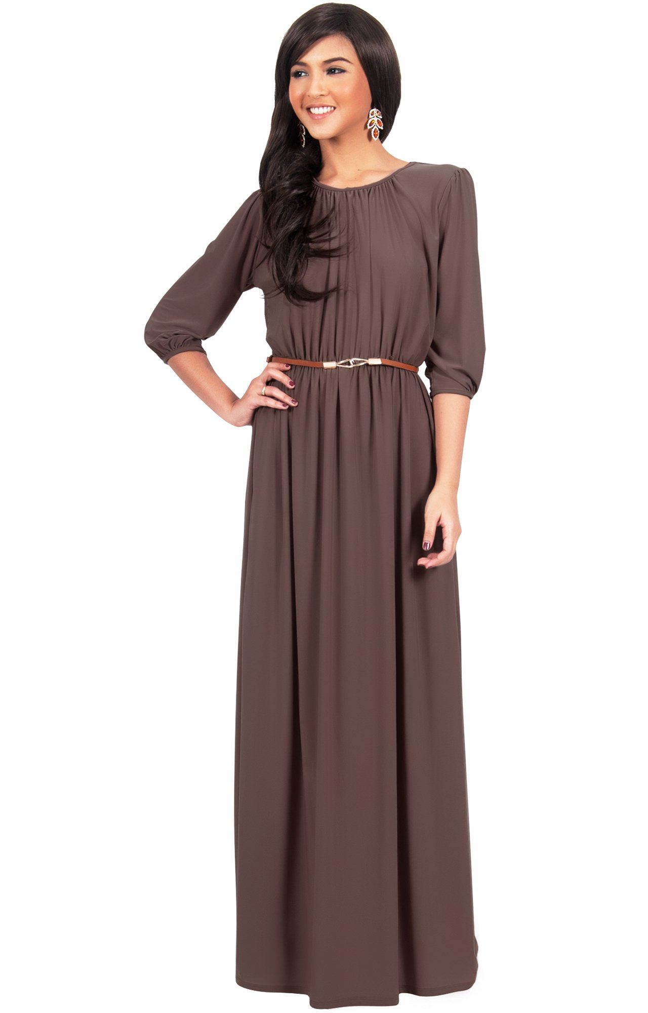 KOH KOH Plus Size Women Long 3/4 Sleeve Sleeves Vintage Autumn Fall Winter Flowy Formal Evening Work Office Modest Peasant Cute Abaya Gown Gowns Maxi Dress Dresses, Dark Brown XL 14-16 (3)