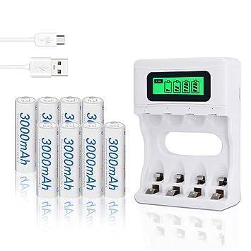 Palo 4 Bay USB AA/AAA Cargador de batería Smart LCD Pantalla ...