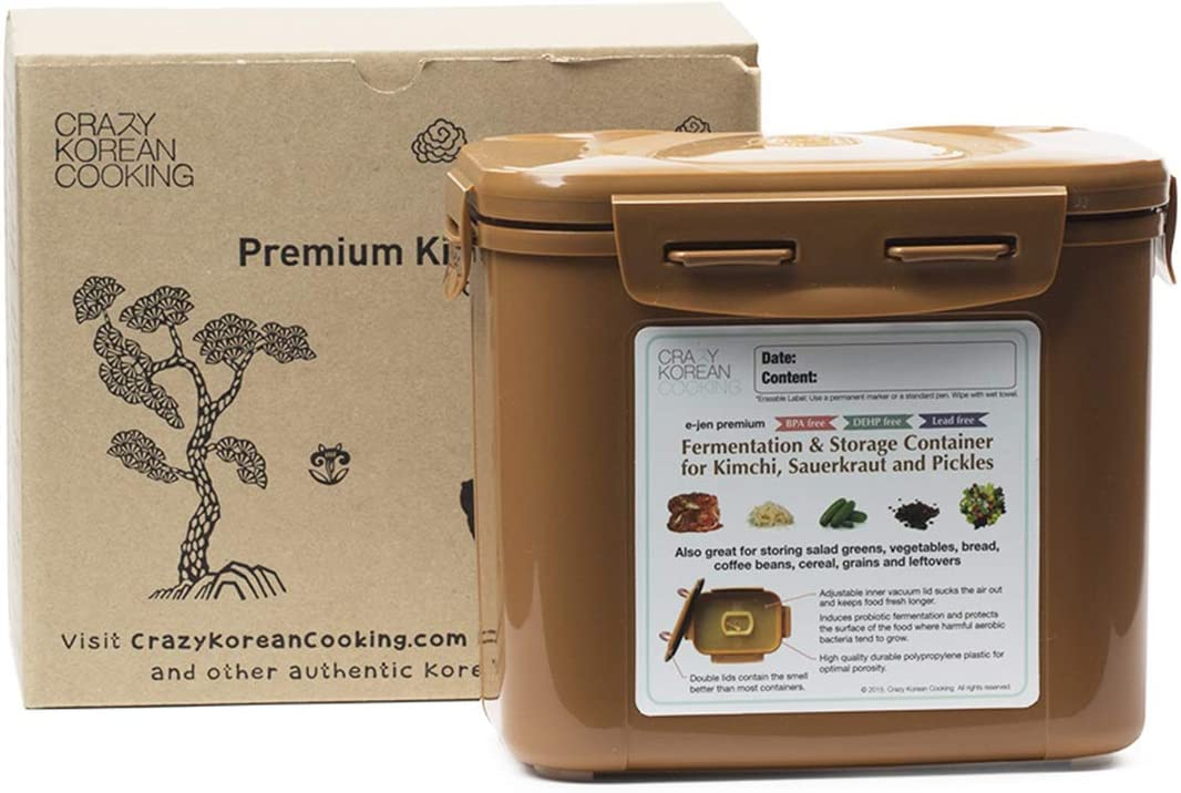 Crazy Korean Cooking Premium Kimchi, Sauerkraut Fermentation and Storage Container with Inner Vacuum Lid (0.4 Gal Sandy Brown (1.7L))