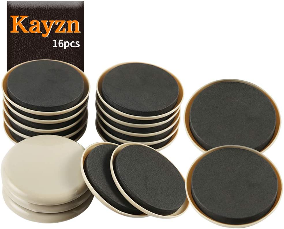 Kayzn Furniture Sliders 16pcs 3 1/2 inch - Heavy Duty Reusable Round Sliders for Moving Furniture on Carpet, Easily Move Couches/Beds/Armoires