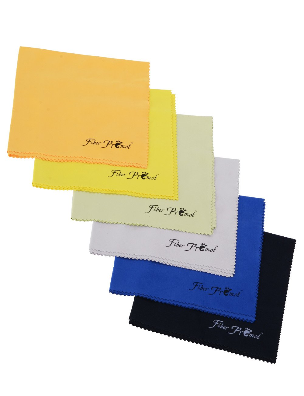 Fiber Promot 6 Pack Microfiber Cloth for Phone Screens Camera Glasses Lens Square Glasses Cleaning (Black,Grey,Royal Blue,Golden Yellow,Green,Orange,12''12'')