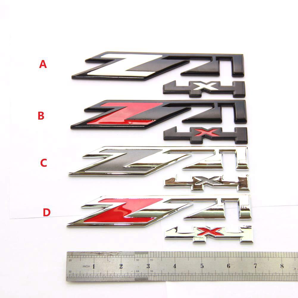 Yoaoo/® 2x OEM Chrome Red Z71 4x4 Emblems Badges for GMC Chevy Silverado Sierra Tahoe Suburban 1500 2500hd 3500hd Decal