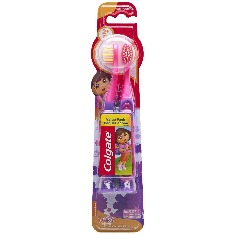 Colgate Kids Dora the Explorer Toothbrush with Suction Cup Value Pack, Extra Soft, 2 Count CN01387A
