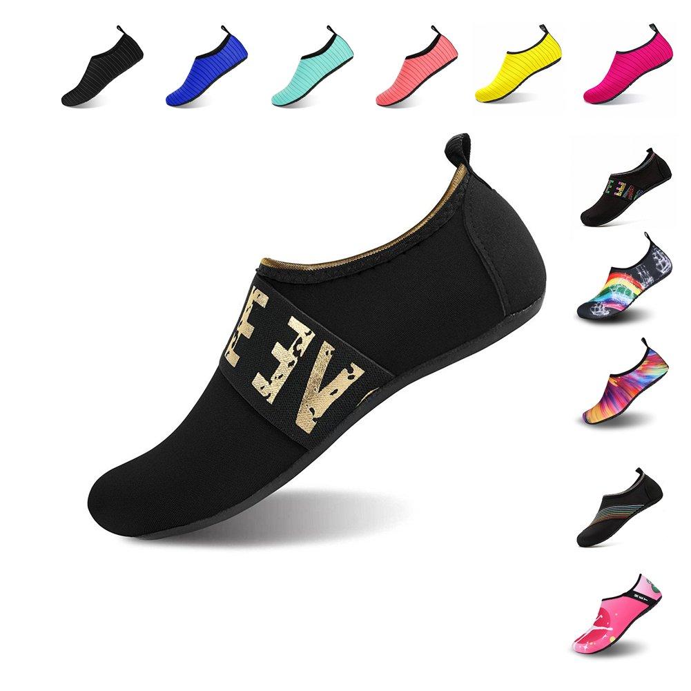 Mens Womens Water Shoes Barefoot Beach Pool Shoes Quick-Dry Aqua Yoga Socks for Surf Swim Water Sport (Black.WZ/JS, 36/37EU) by NINGMENG