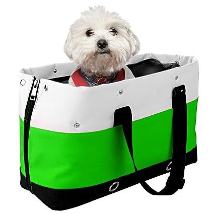 Bolsos para perros, Iyowin bolsa transporte para mascotas, los agujeros y redes transpirables (Verde)