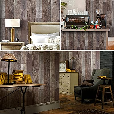"Distressed Faux Wood Plank Wallpaper Panels Home Kitchen Bedroom Living Room Wall Decoration 20.8""x 32.8ft"