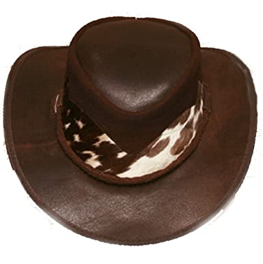 9a9af596222d8 Amazon.com  Croc Dundee Brown Australian Leather Cowboy Hat With Real Cowboy  From Down Under  Clothing