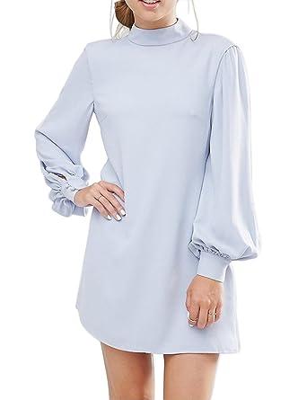 Ellies Women's Long Sleeve High Neck Keyhole A Line Work Casual Mini Dresses,  Light Blue