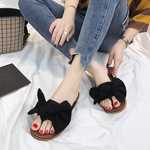 Tie Sandals Color Noir Beach Fashion Shoes Flat Heel Lianmengmvp Bow Slipper Solid Women nZ1wCEq