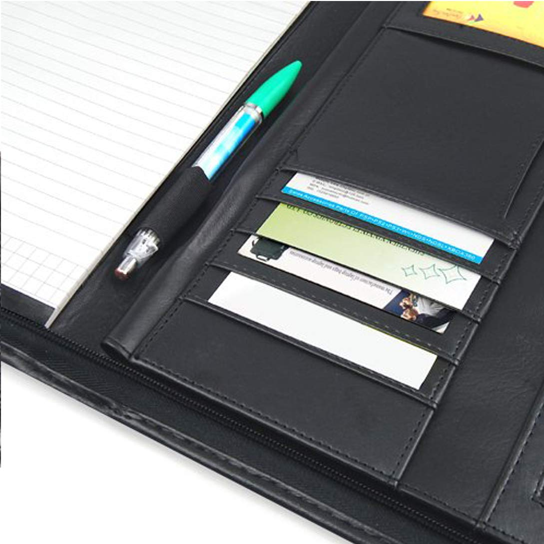 TRIXES Black A4 Executive Conference Folder Leather Look Zipped