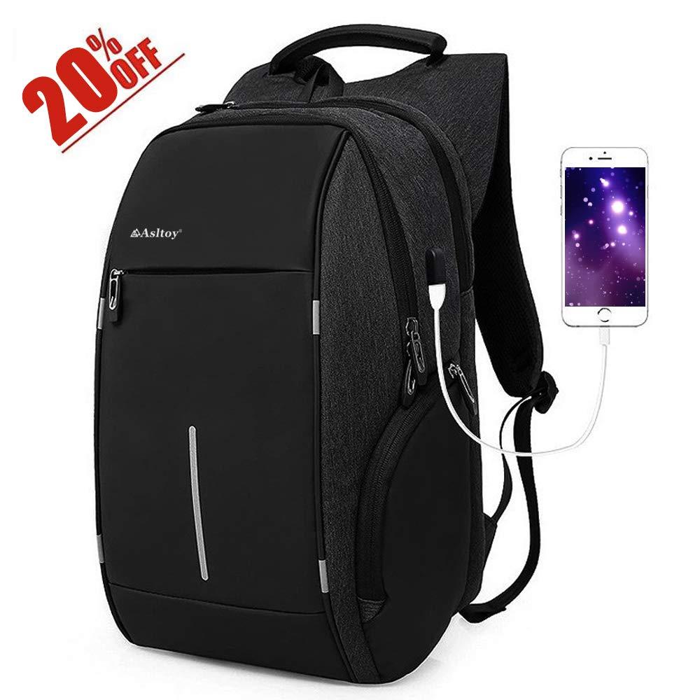 Laptop Backpack Rucksack Asltoy 15.6 inch Notebook Business Backpack Large Capacity Anti Theft USB Charging Port Water Resistant Travel bag College Bag School Bookbag (16inch Black)