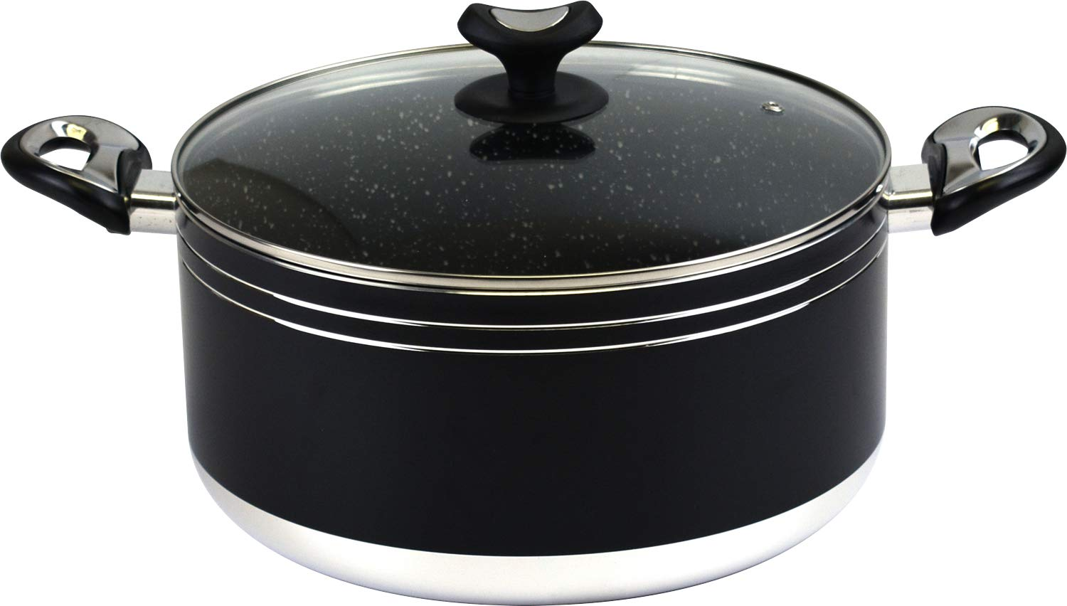 Marble Coated Non-Stick Casserole Pot with Tempered Glass Lid 28cm Sterling Ventures