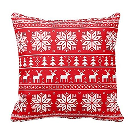 Christmas Sweater Pattern.Amazon Com Red Vintage Christmas Sweater Pattern Pillow