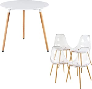 GreenForest Acrylic Dining Chairs and Dining Table Bundle, A Set of 4 Transparent Clear Chairs and White Round Dining Table Easy Assemble