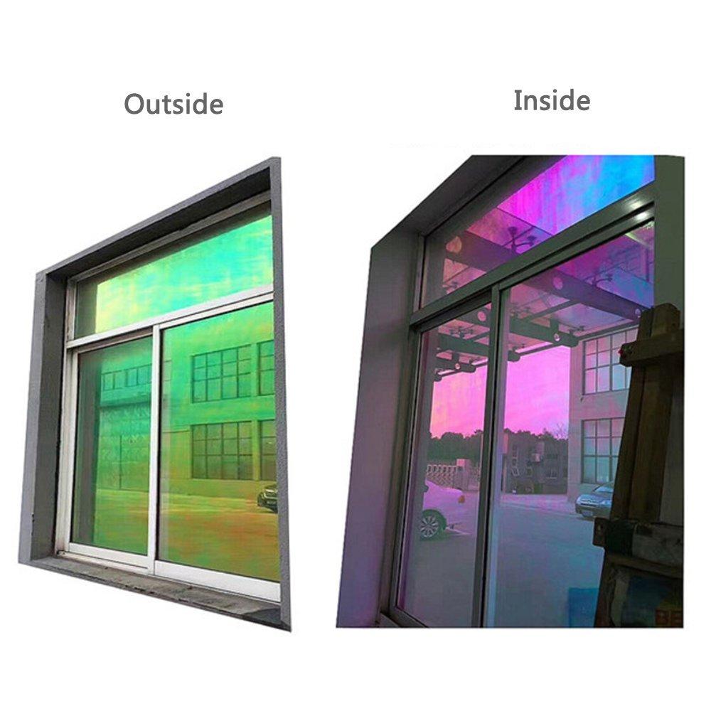 HohoカメレオンChangeableカラー自己粘着ウィンドウガラスフィルムウィンドウソーラーTint pravicy熱コントロールfor住宅用 45cmx300cm CF-01-45cm300cm B0785ZNWVK  45cmx300cm