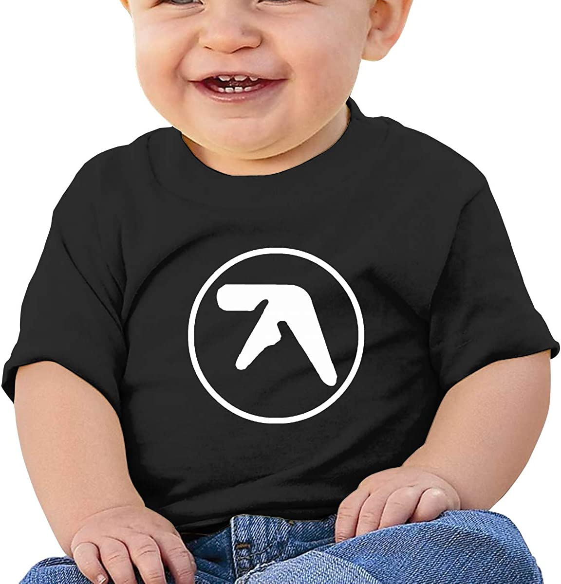 Wokeyia Baby Aphex Twin Black Tshirts Breathable T Shirts for Infant