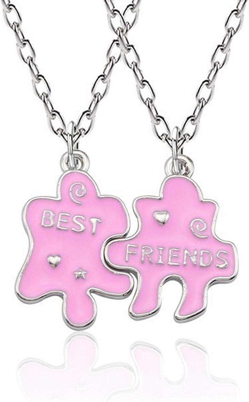 Trendy Best Friends Pendant Necklace Rainbow Broken Heart Necklace
