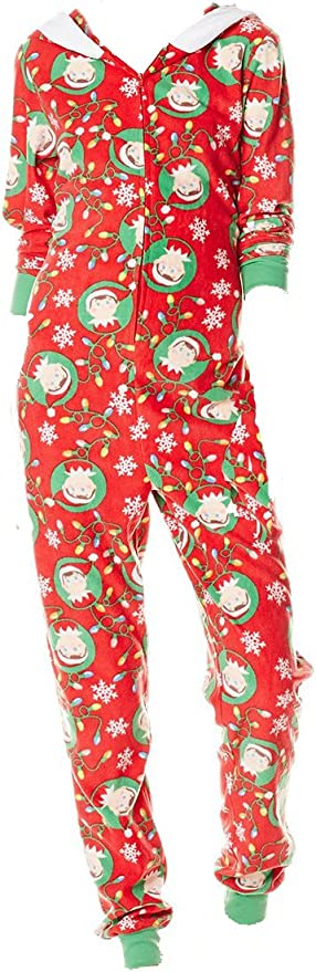 Womens Elf on The Shelf Fleece Hooded Onsie Pajama