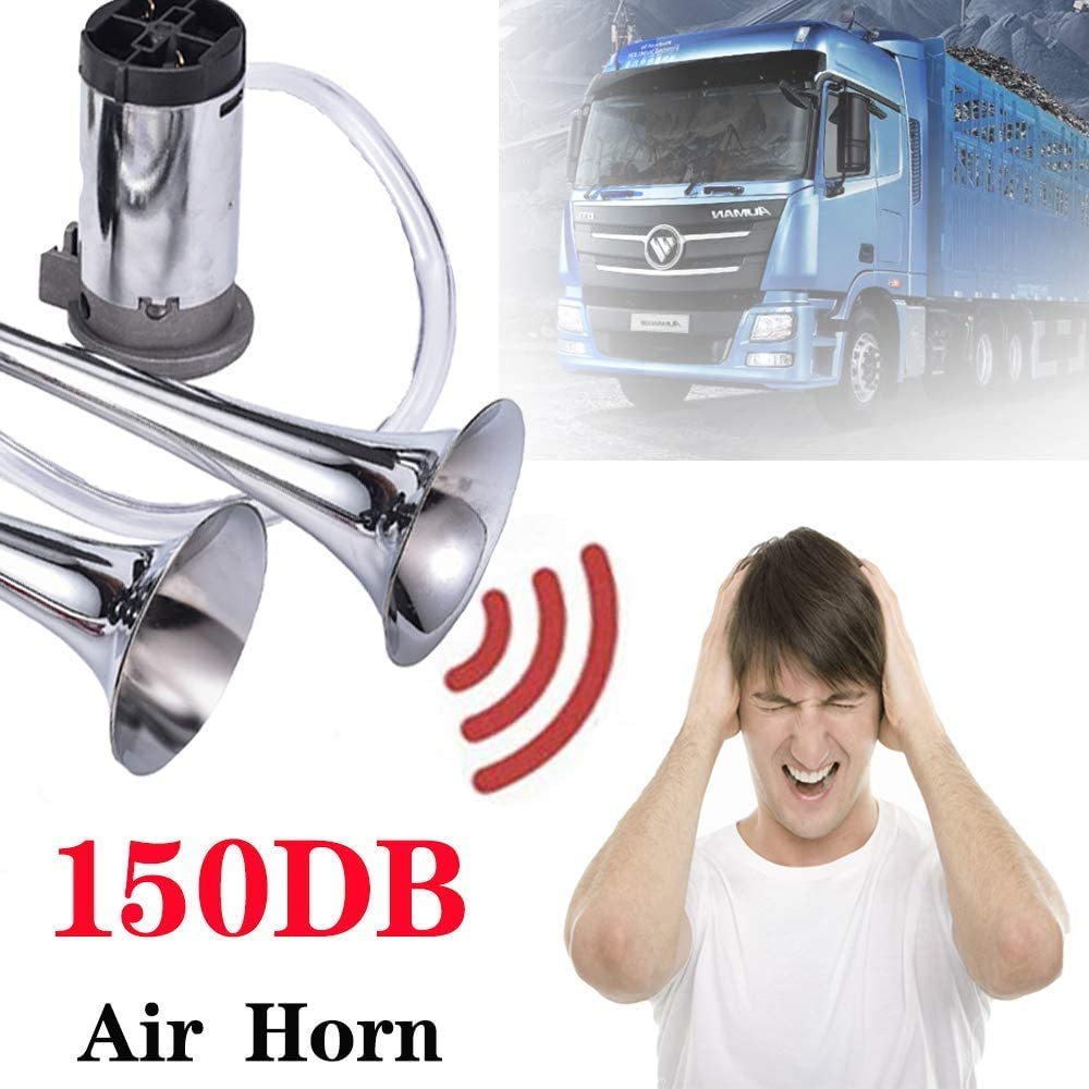 MKING 12V 150dB car Dual Tube air Horn kit-with Compressor Suitable for Any 12V Vehicle Silver//Black