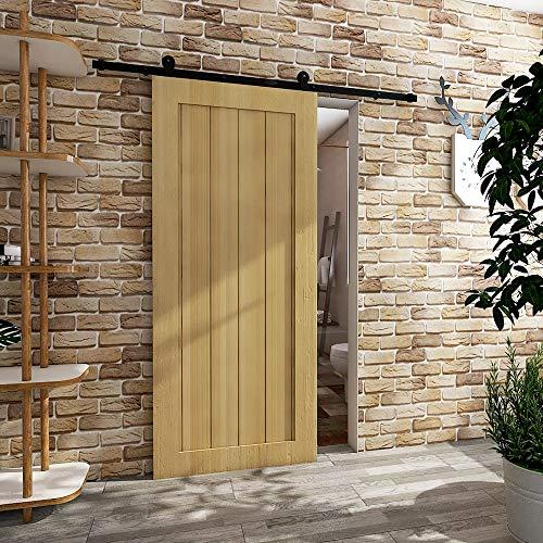 - CCJH Modern European T Style Barn Wood Single Sliding Door Hardware Track Set 6 Ft/1.83m Black