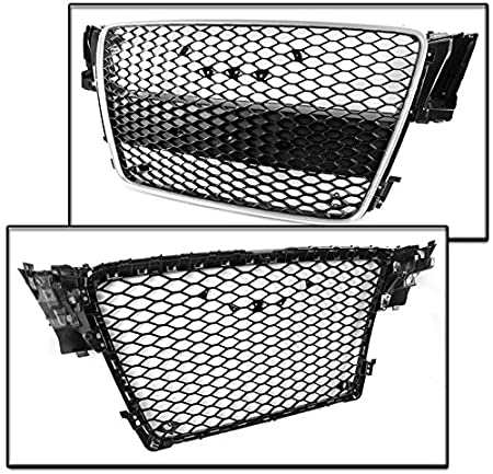 ZMAUTOPARTS 2008-2012 Audi A5 S5 B8 8T RS5 Style Honeycomb Mesh Hex Grille Gloss Black with Chrome Trim