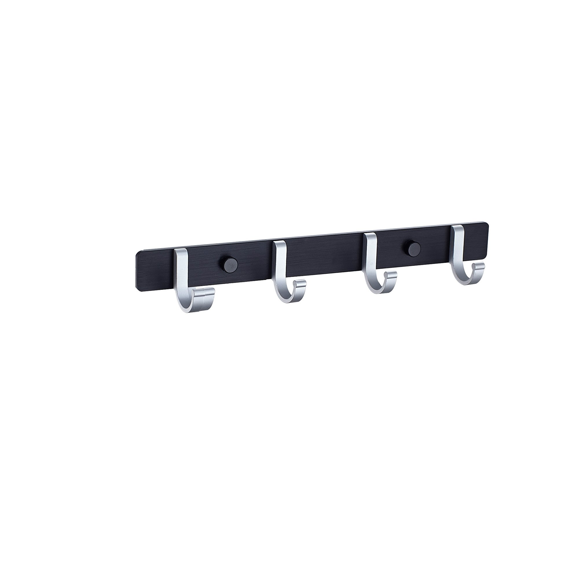 HOME SHOW Bathroom Towel Rail/Rack with 4 Hooks Wall Mount Aluminum Alloy, Black and Silver G08 0090