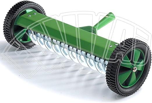 Rastrillo aireador con ruedas, de 11 cm, para jardín con césped a la inglesa: Amazon.es: Jardín