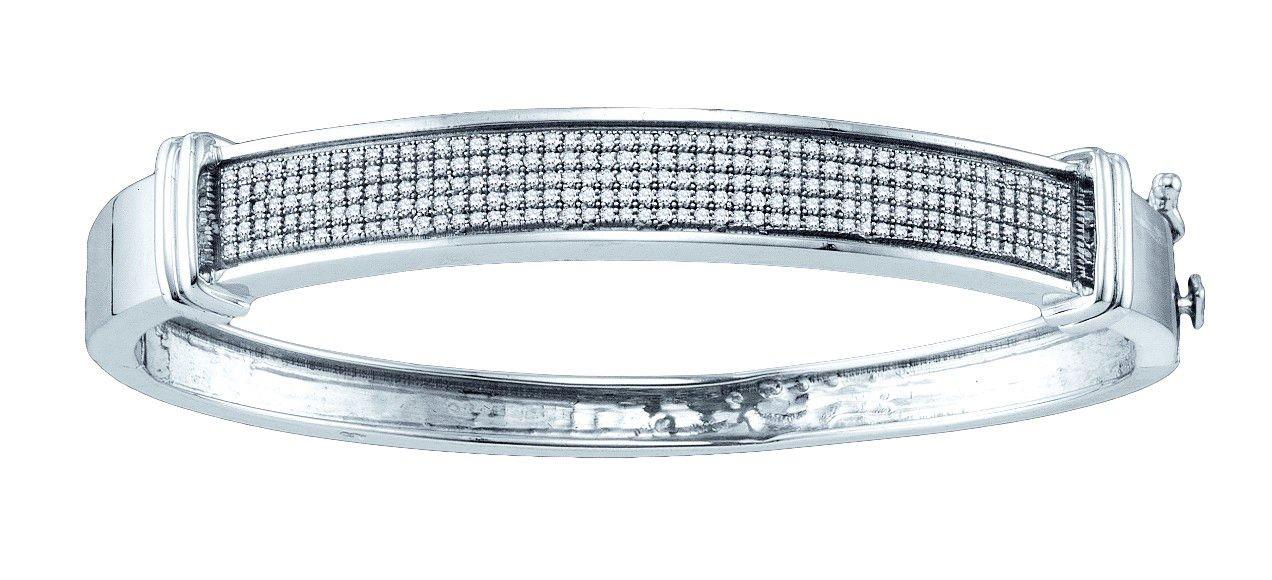 Sterling Silver Womens Round Pave-set Diamond Bangle Bracelet 3/4 Cttw