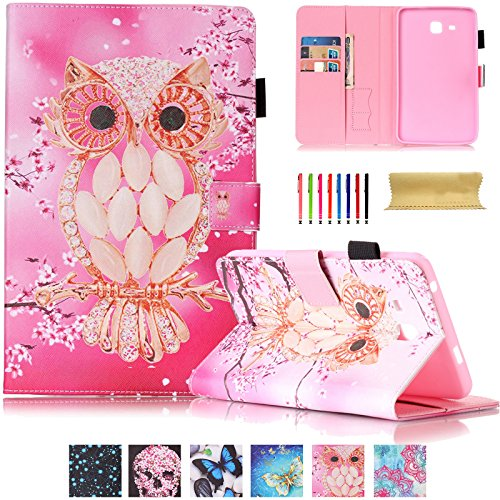 Galaxy Tab A 7.0 Case,UUcovers Synthetic Leather Stand Case Wallet Case [Card Holder] Flip Folio Wallet Case Cover for Samsung Galaxy tab A 7.0 T280/T285-Cherry Owl (Tablet Case Owl)