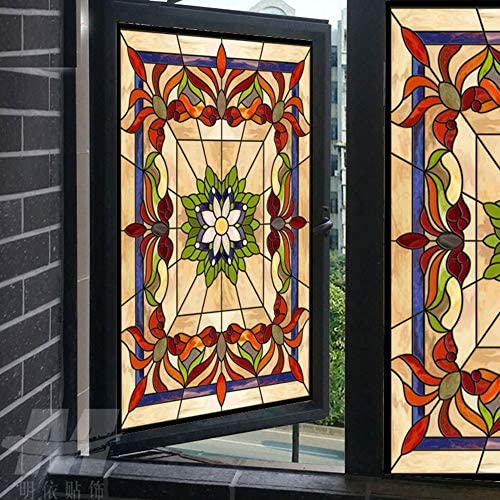 Abstract Stained Glass Decorative Window Film 36 Wide x 6.5 Ft Long