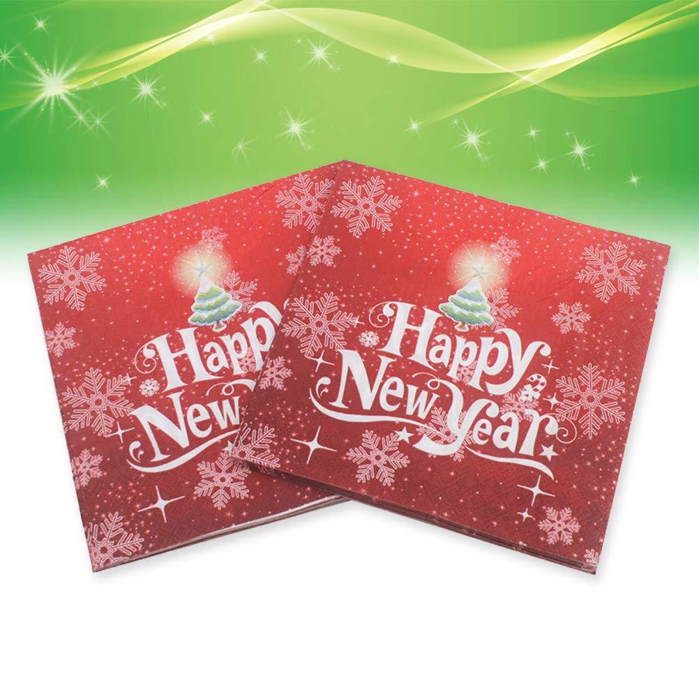 BESTOYARD Happy New Year Printed Napkin Wood Pulp Colorful Party Napkin Restaurant Decoration 100pcs by BESTOYARD (Image #6)