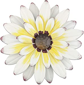 "YiYa 13"" Metal Flower Wall Decor Multiple Layer Flower Wall Art Wall Art Decorations Hanging for Balcony Patio Porch Bedroom Living Room Garden (White Yellow)"
