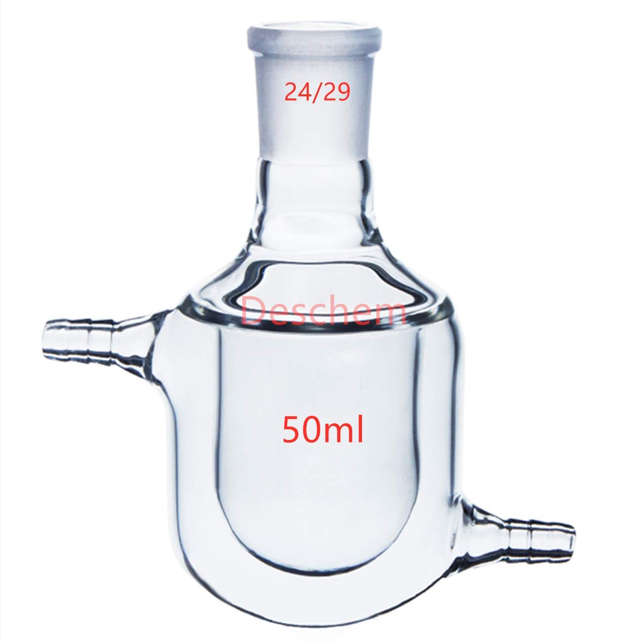 Deschem 50ml,24/29,Single Neck,Jacketed Glass Flask,One Neck Reaction Bottle,Lab Reactor Vessel by Deschem
