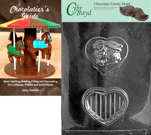 Cybrtrayd Bunny on Heart Pour Box Valentine Chocolate Candy Mold with Chocolatier's Guide Instructions Book Manual
