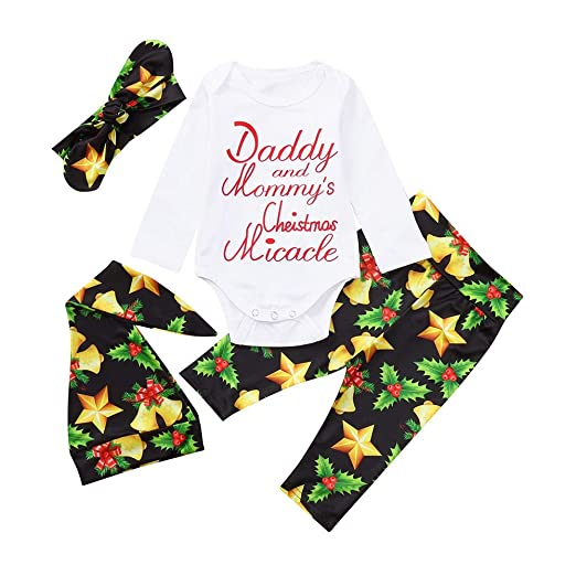 366f770f8 Hatoys Newborn Baby Boys Girls Christmas Bell Star Romper Pant Hat Headband  Outfits Set Clothes (