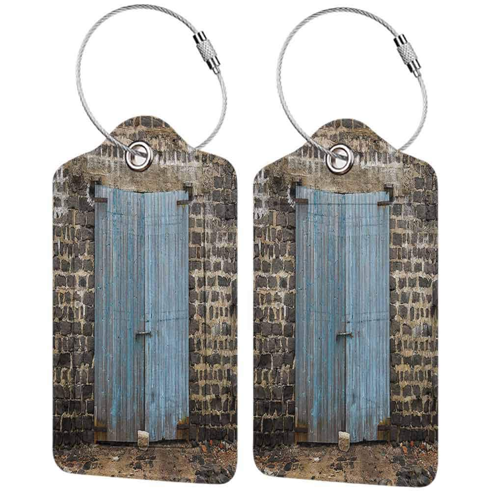 Personalized luggage tag Rustic Decor Stone Wall Of Dated Colored Closed Barn Gothic Medieval European Urban City Town Scenery Easy to carry Blue Grey W2.7 x L4.6
