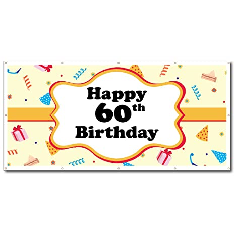 VictoryStore Happy Birthday Banners 60th Party Hats Vinyl Banner Size 3