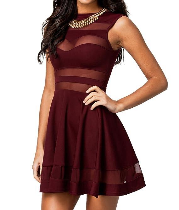 made2envy Mesh See Through Sheer Block Skater Sleeveless Mini Dress