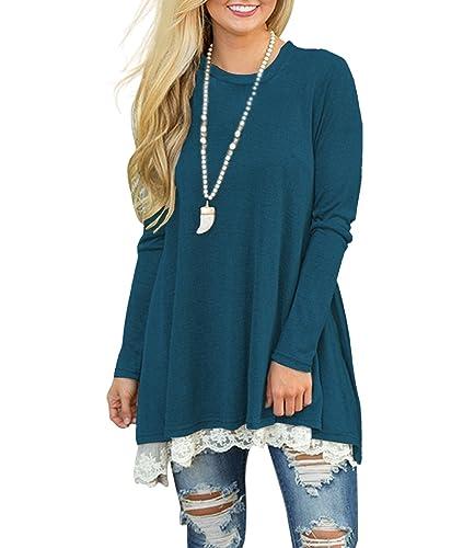 MOLERANI Women's Casual Lace Long Sleeve Tunic Top Blouse