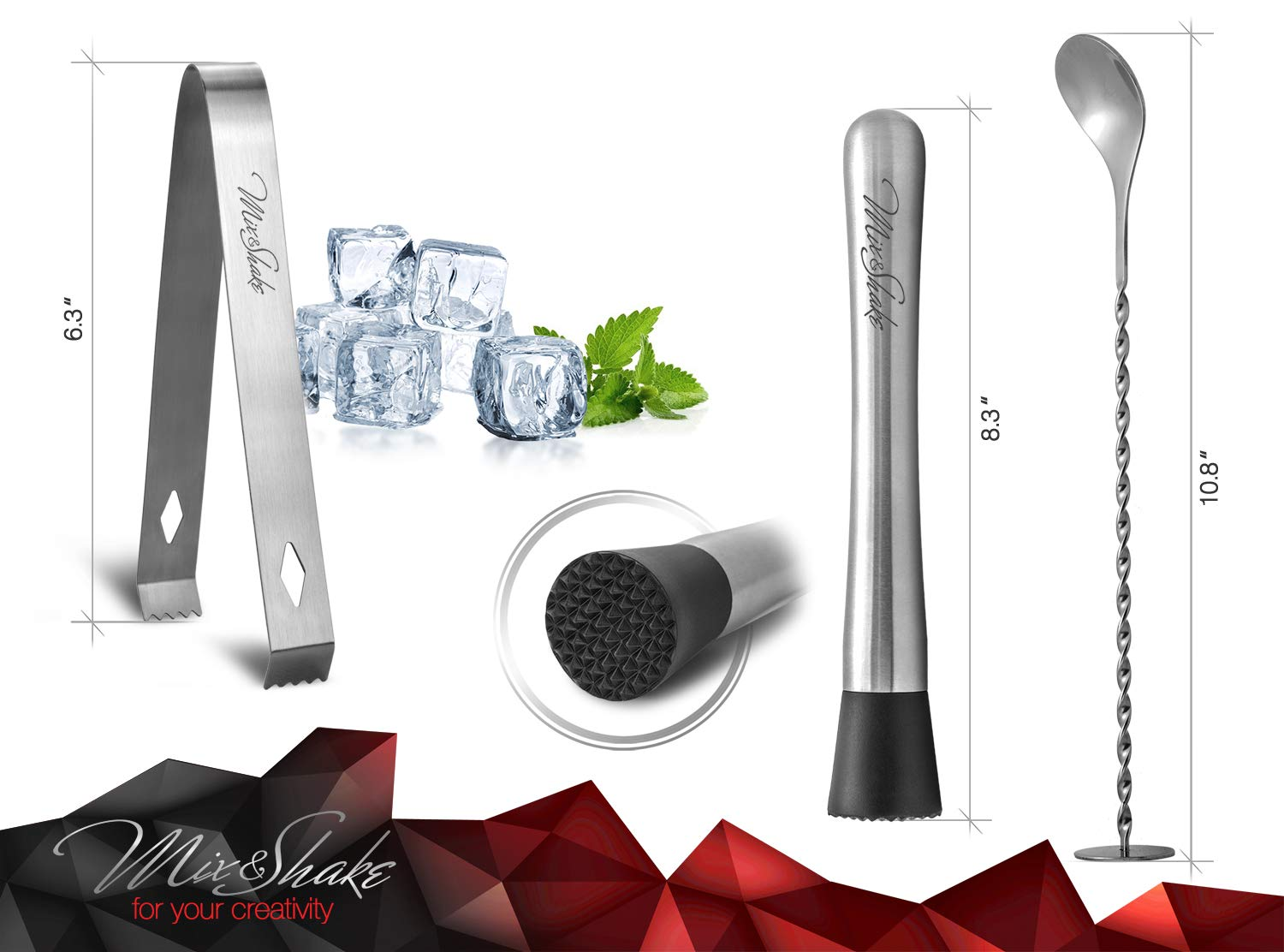 Cocktail Shaker - Cobbler Shaker - Bartender Kit - Bar Supplies - Drink Mixer - Martini Shaker Set-11 Piece Stainless Steel Cocktail Shaker Set With Strainer, Muddler, Two Jiggers, Bar Spoon,Ice Tongs by Mix&Shake (Image #5)