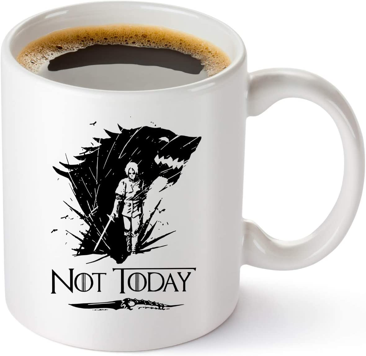 Game Of Thrones Merchandise Mug Not Today Coffee Mug Arya Stark GOT Cup Funny Birthday Gifts For Women And Men House Stark